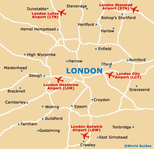 London Airports Map | World Map 07