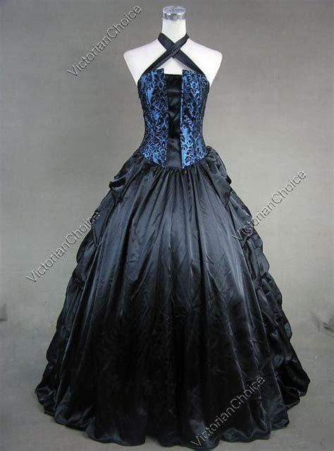 victorian gothic satin corset ball gown prom dress