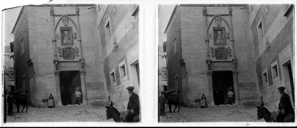 Fotografía estereoscópica de Toledo. Posada de la Hermandad