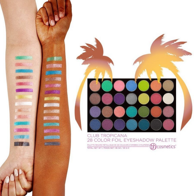 BH Cosmetics Club Tropicana Foil Eyeshadow Palette Swatches
