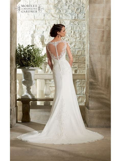 Mori Lee 5306 Long Lace Sleeve Ivory Dress Heart Shaped
