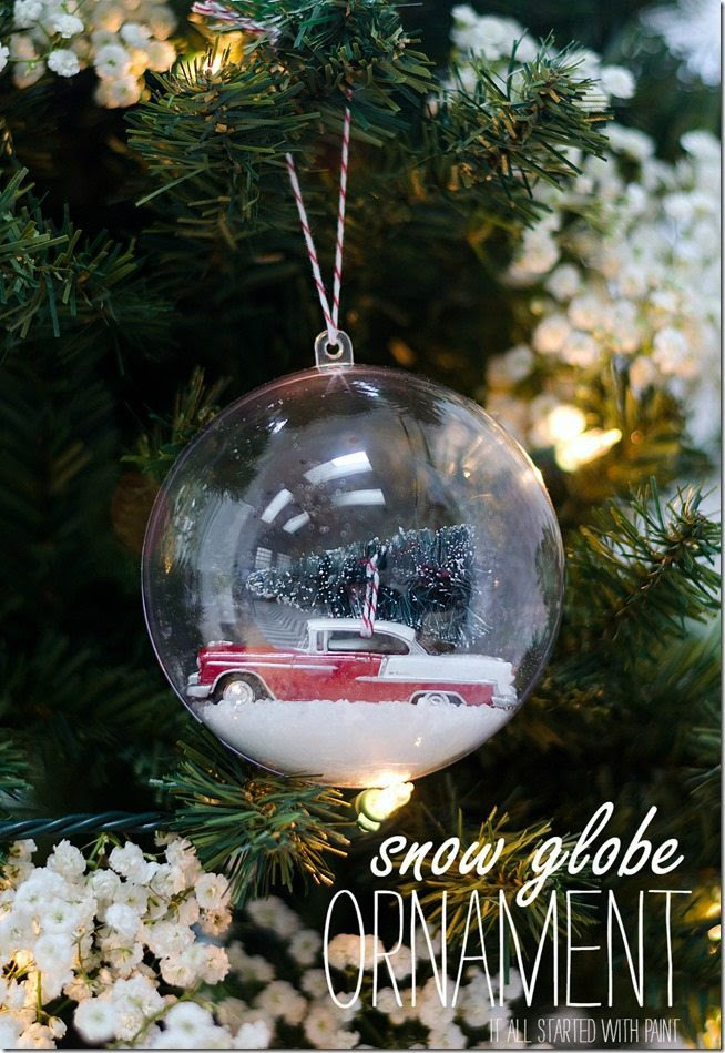 Snow globe ornament with car and Christmas tree