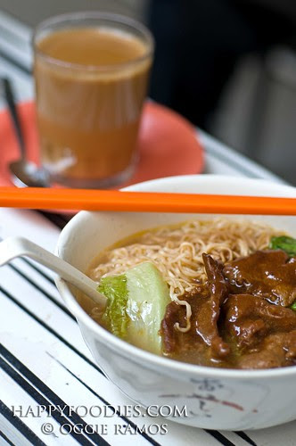Hong Kong - Mallory Side Street Breakfast of Coffeetea and Pork Noodles