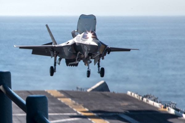 An F-35B Lightning II is about to touch down onto the deck of the USS Essex during a training exercise off the coast of Southern California...on October 22, 2017.