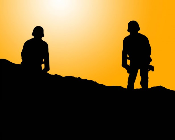 Soldier Silhouette At Sunset