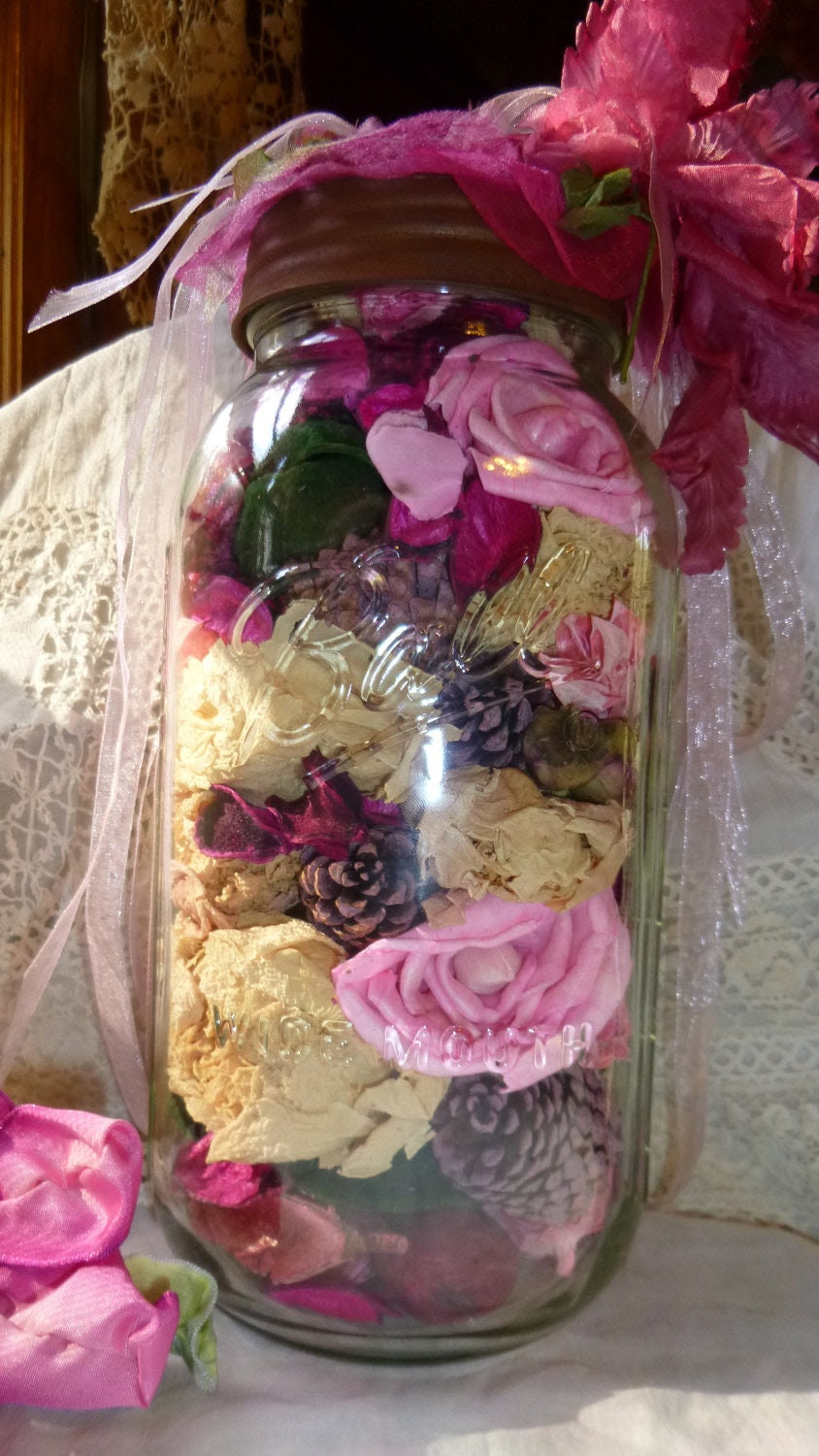 Rose Filled Mason Jar, Pink, Altered, Floral, Table Decor, Romantic Country, Shabby Chic, OOAK, Boutique, Fushia, Blossom, Victorian