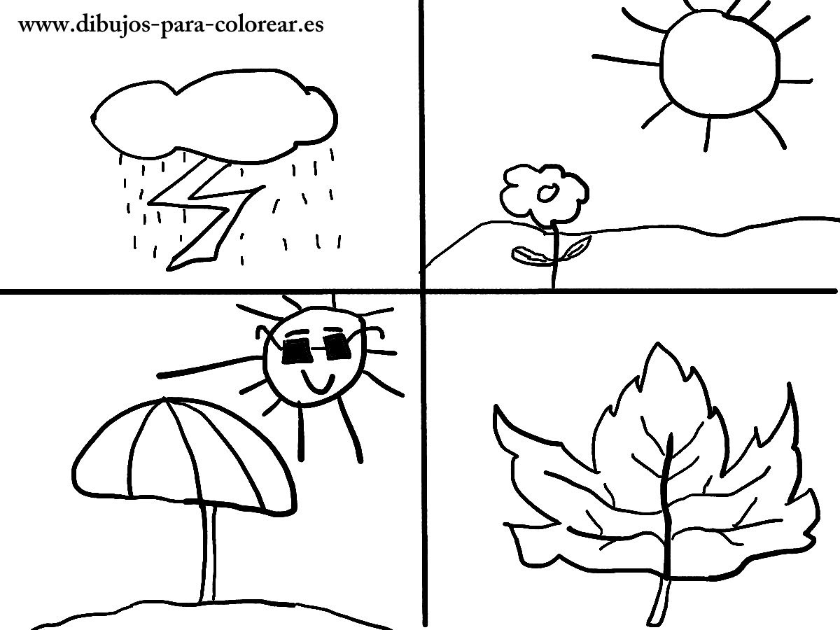 Las Cuatro Estaciones Del Año Dibujos Para Colorear