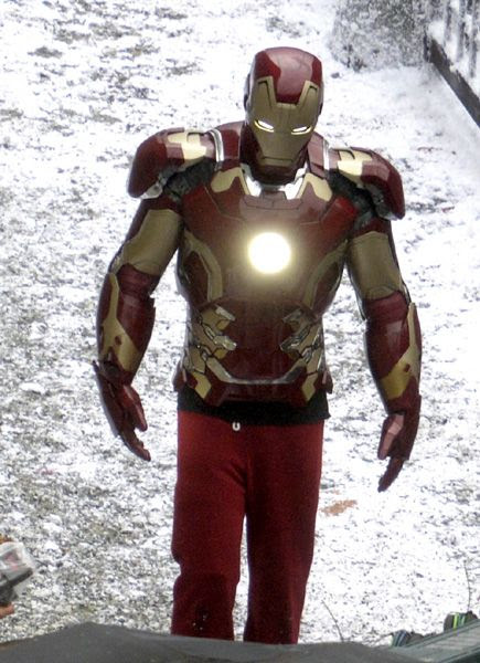 A stunt performer is suited up as IRON MAN on the set of AVENGERS: AGE OF ULTRON.