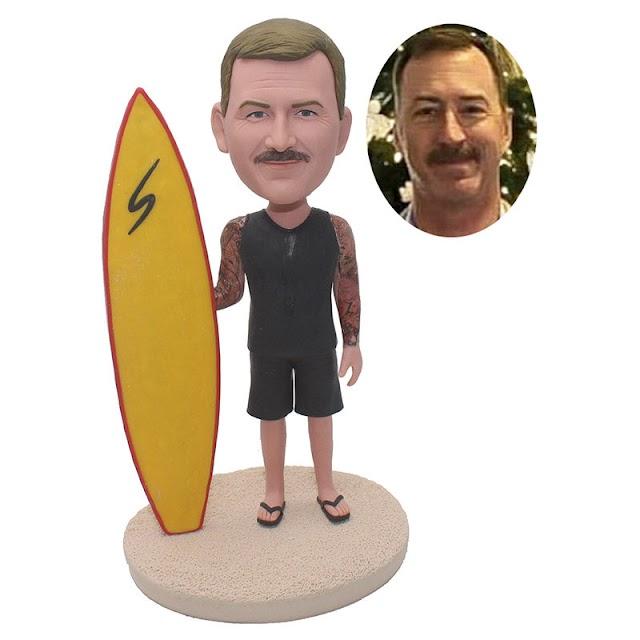 Custom Beach Bobblehead With Surfboard Cool Surfboard Gift