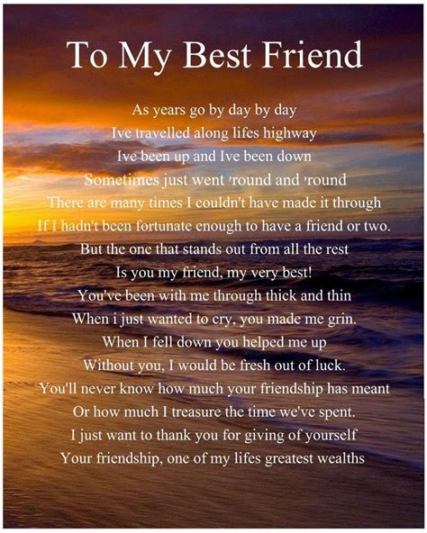 Personalised To My Best Friend Poem Birthday Christmas