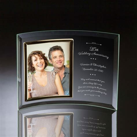 25th Wedding Anniversary Curved Glass Vertical 8x10 Photo