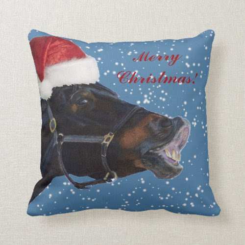 Cute Merry Christmas Pony Pillow
