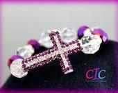 Purple Sideways Cross Faith Bracelet