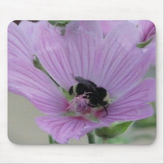 Light Purple Flower With Bee mousepad