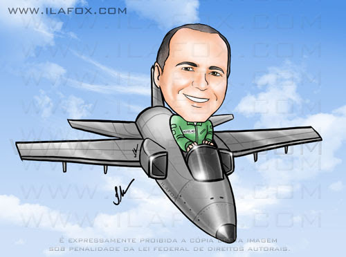 Caricatura homem pilotando caça AMX, FAB by ila fox