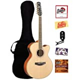 Yamaha CPX700-12 12-String Cutaway Acoustic-Electric Guitar Bundle with Gig Bag, Tuner, Instructional DVD, Strings...
