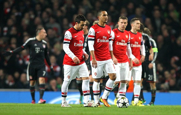 Dejected: Arsenal's players look disappointed after being defeated by Bayern