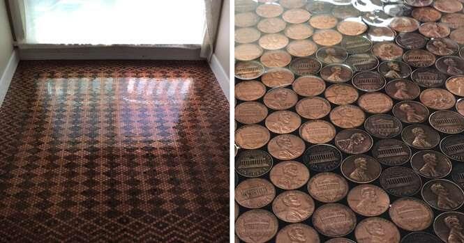 Mulher usa 13.000 moedas de um centavo para renovar piso antigo e resultado é impressionante
