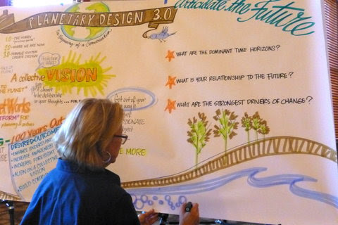 At Arizona State University, Julie Primozich kept a graphic recordas scientists discussed how to design a program to manage planet-scale systems and limit future risks.
