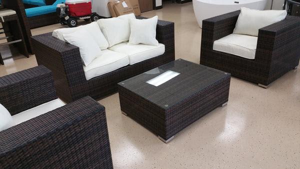 King Size 4 Piece Outdoor Wicker Patio Furniture Set - San ...