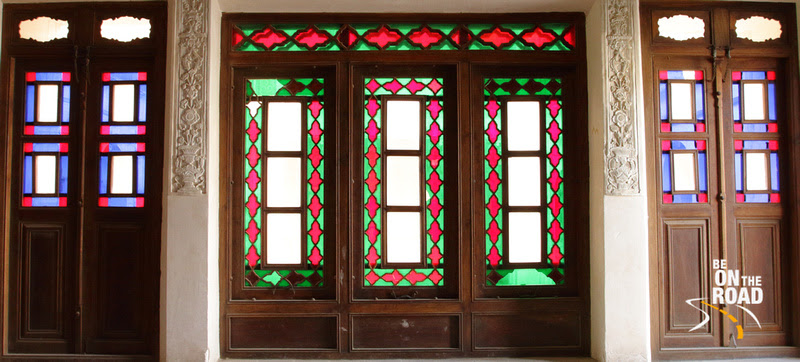 Colorful glasswork on the doors of Tabatabei house of Kashan, Iran