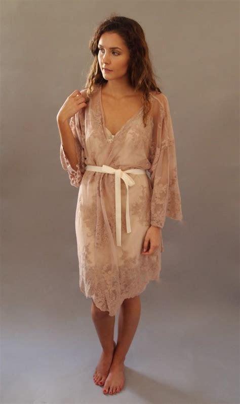 HELENA Kimono   Wedding Day Lingerie, Blush Pink Guipiere