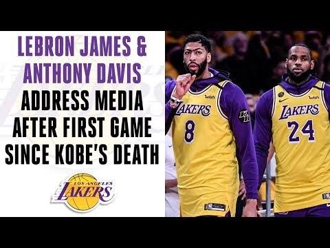 Lebron James & Anthony Davis address media after Lakers' 1st game since Kobe's death