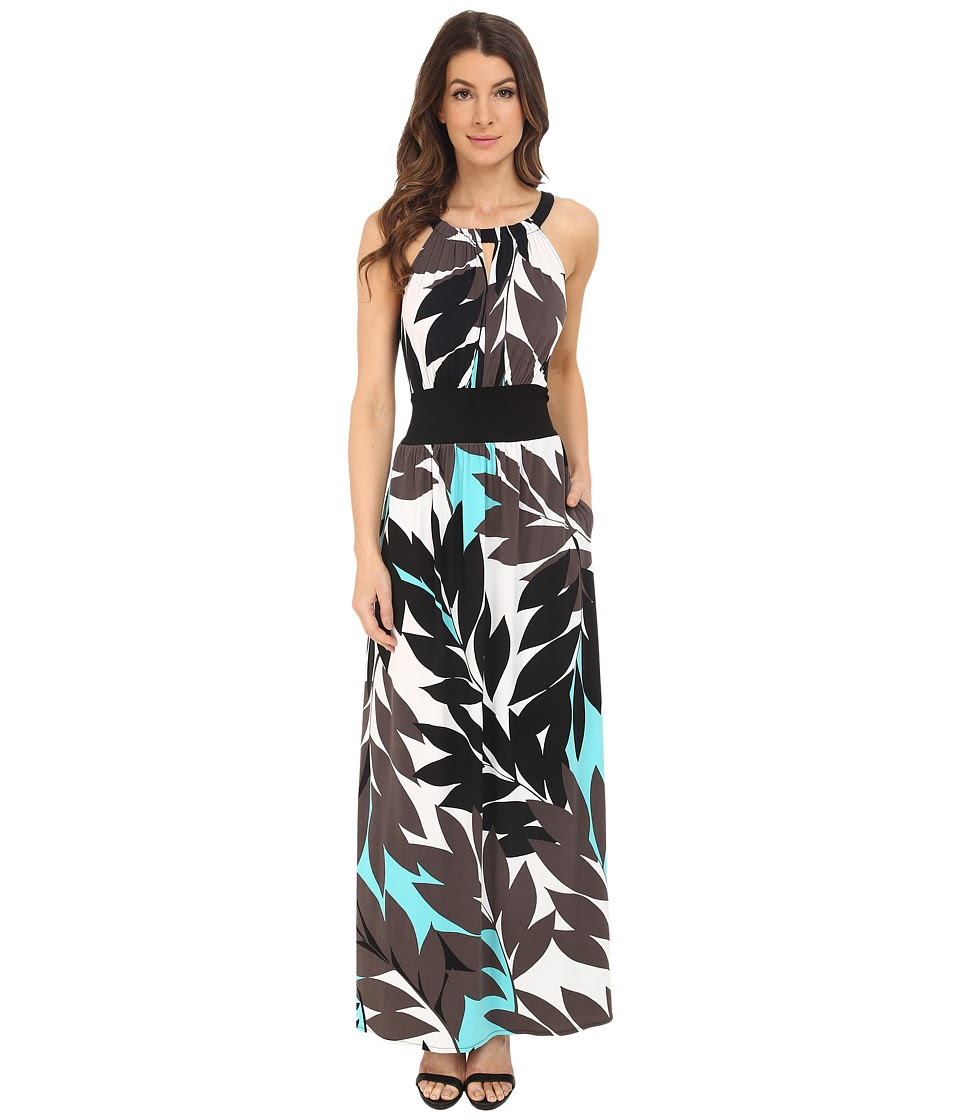 London Times - Jersey Maxi w\/ Thick Waist Tie (White\/Blue) Women's Dress