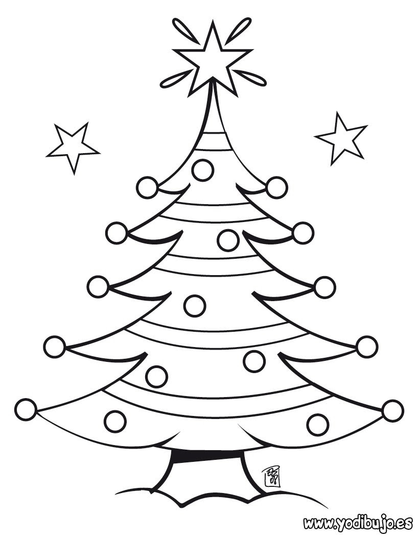 Dibujos Para Colorear Arbol De Navidad Con Estrellas Eshellokidscom