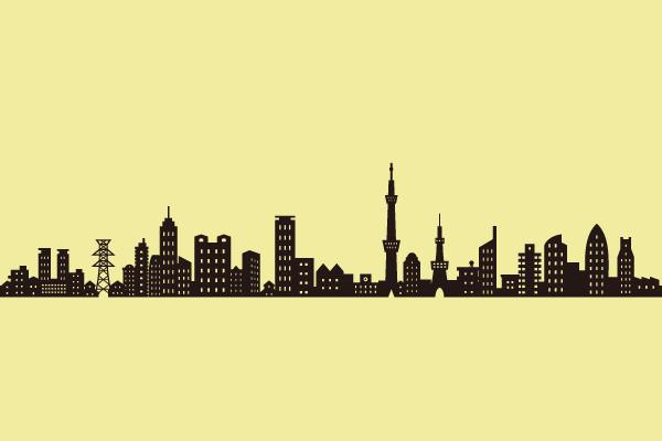 横長シルエット街並み 街建物系イラスト専門サイトtown Illust