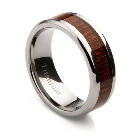 Mens Titanium Wedding Band with Oak Wood Inlay, 8mm   eBay