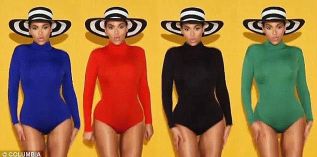Colorido: O vídeo também apresenta Beyonce, ou imagens, em vez de várias Beyonce, dançando em uma série de vários ternos do corpo de cor, onde o seu galo parece estar escondido