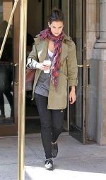 Katie Holmes wearing Juicy Couture Hooded Military Coat