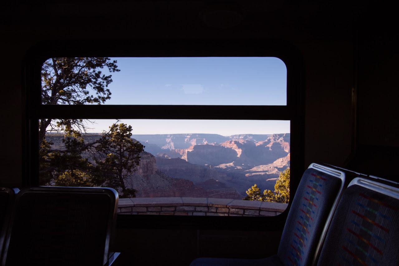 oneyear47nationalparks:  Grand Canyon bus view | Photo: Scott Cochran