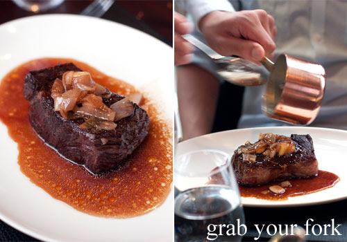 rump cap steak at black by teage ezard