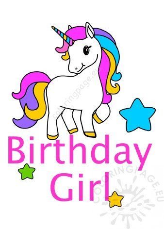 Happy Birthday Girl Unicorn printable - Coloring Page