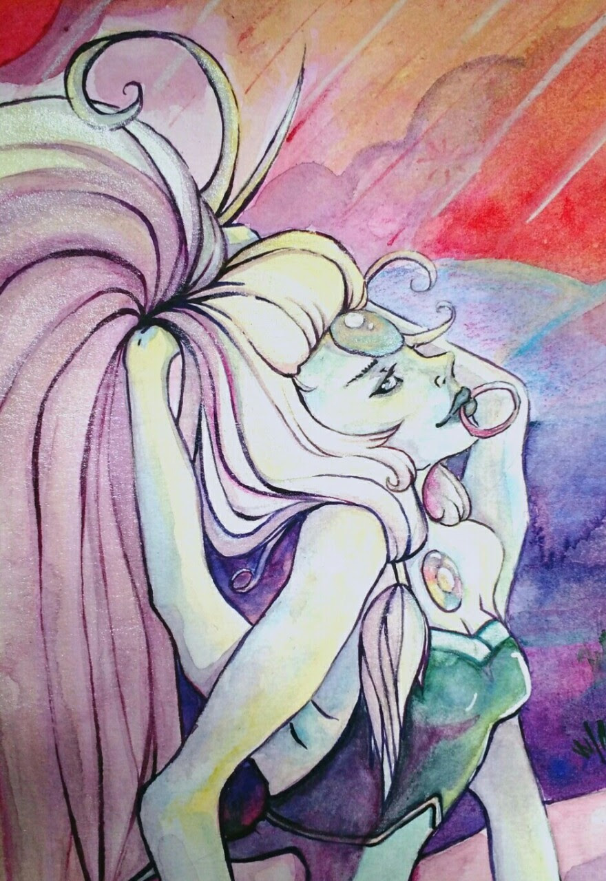 Old Opal watercolor that was gifted to a friend. I found this snippet of it saved in my drafts? Maybe I posted it? Maybe I didn't? Who knows? I don't.