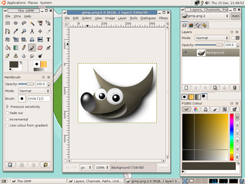A screenshot of the GIMP 2.2.8 raster graphic ...