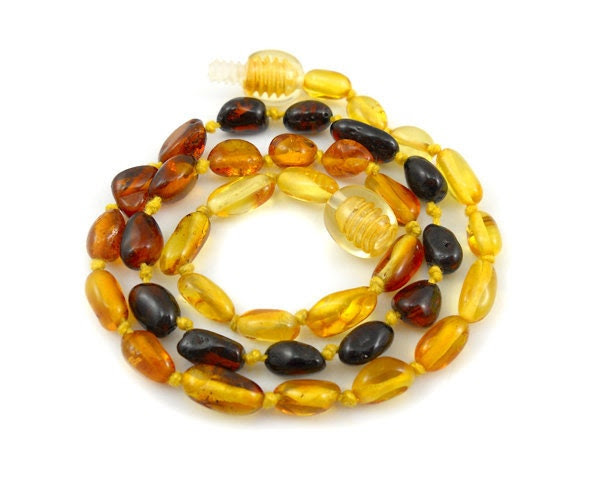 Baltic Amber Baby Teething Necklace. 3 color olive beads - citrine - cognac - cherry