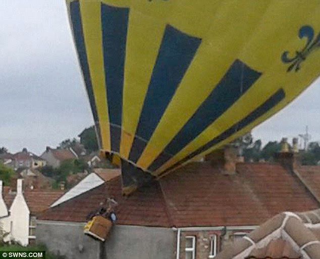 Collision: The out-of-control balloon crashes into home of sleeping family