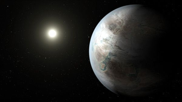 An artist's concept of the exoplanet Kepler-452b.