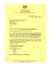 Surat dari Jabatan Warisan Negara
