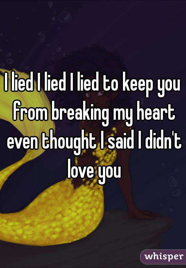 I Lied I Lied I Lied To Keep You From Breaking My Heart Even Thought I