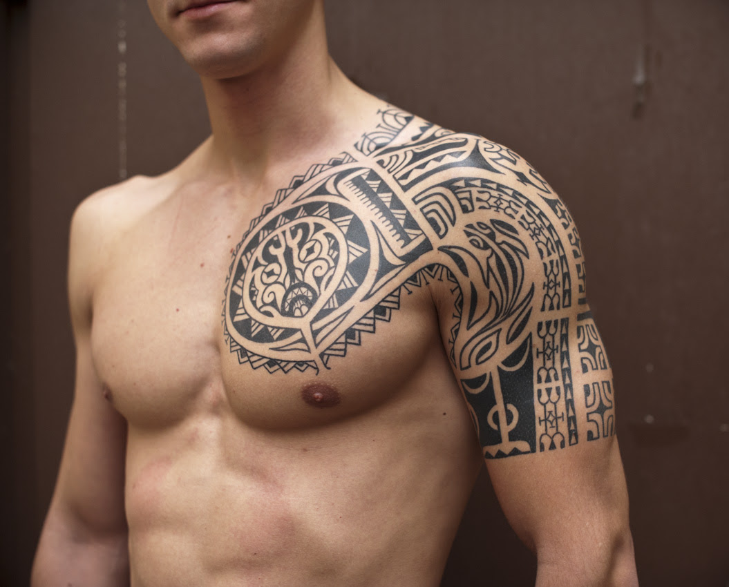 Samoan Half Sleeve And Chest Tattoo For Men