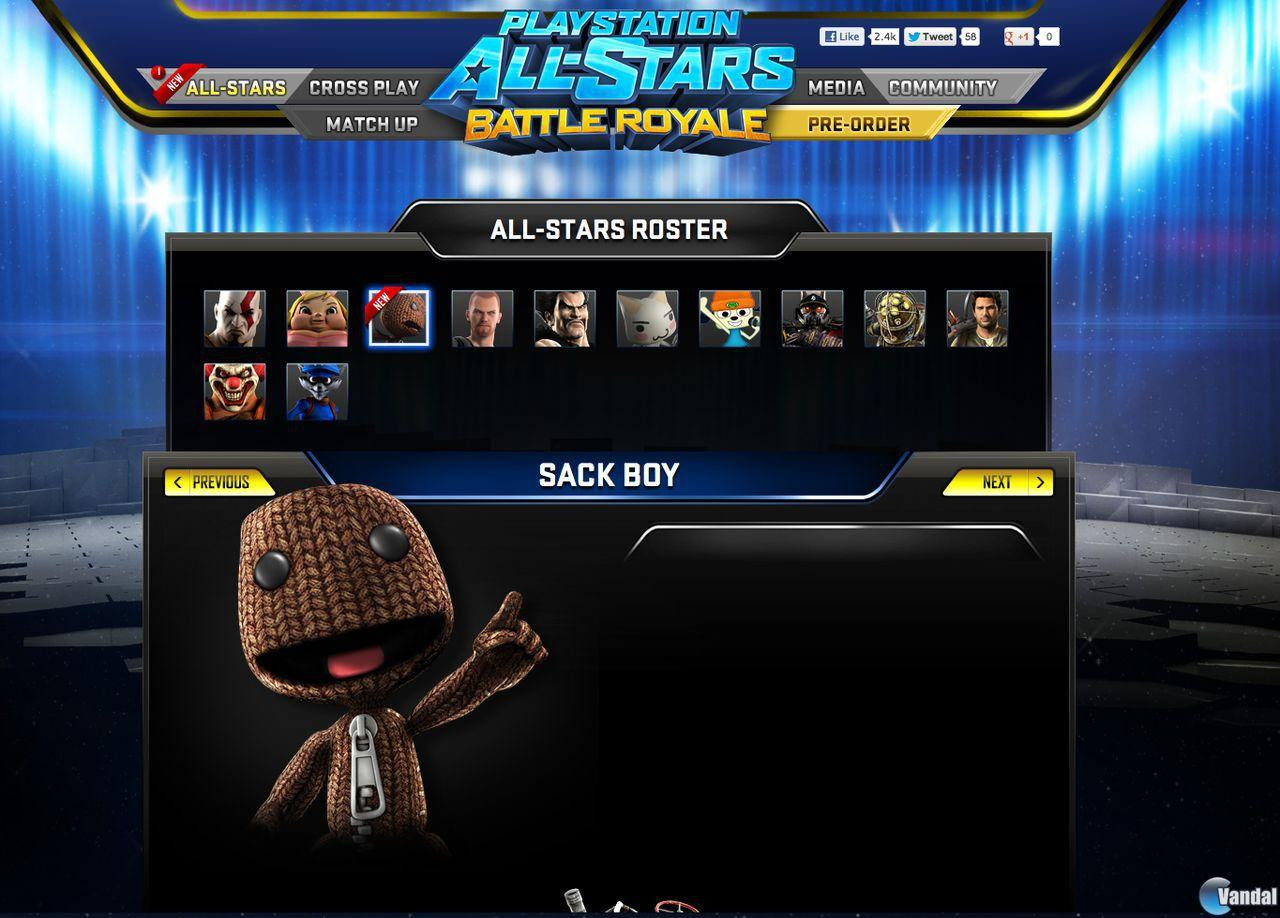 Se filtran imágenes de Sackboy y Raiden de PlayStation All-Stars Battle Royale