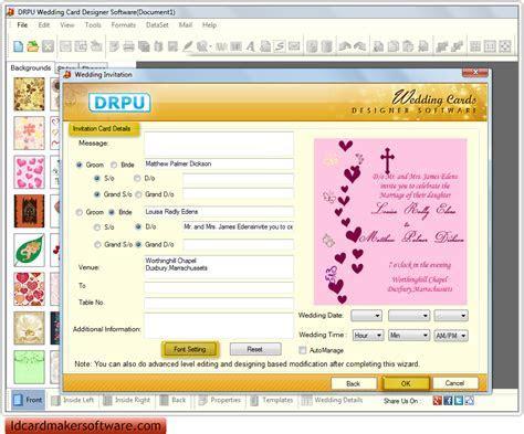 Screenshots of wedding card maker software to design