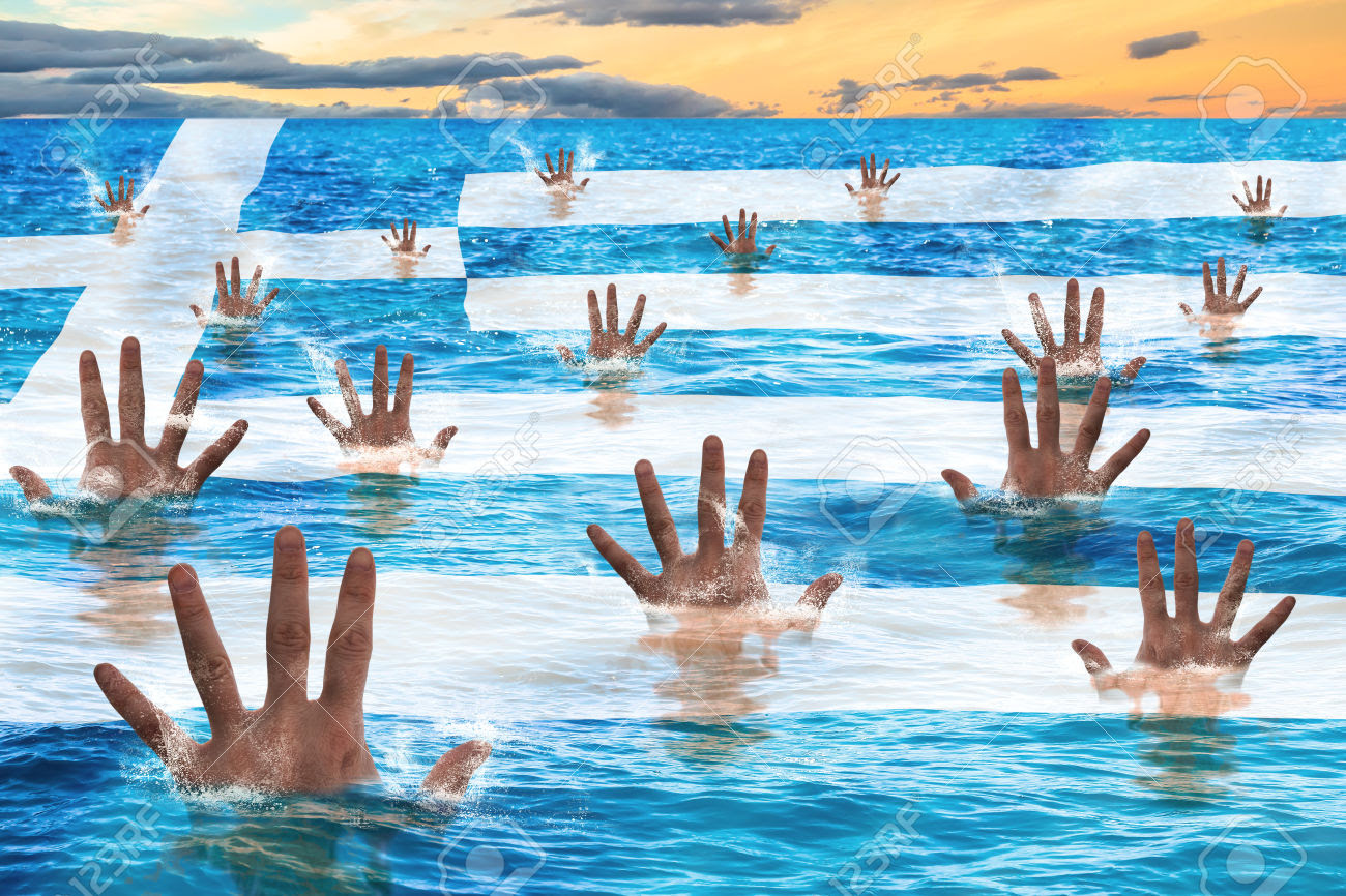 Greece rescue concept, men sinking in the sea reaching for help. Business concept of failure, debit,bankruptcy,financial emergency and default