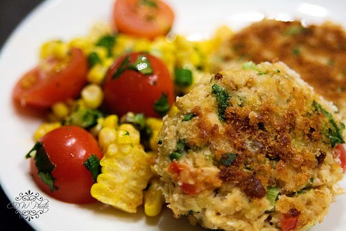 Salmon cakes & Corn and tomato salad