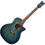 Dean Exotica Quilted Ash Acoustic-Electric Cutaway Guitar with Tuner Preamp, Trans Satin Blue