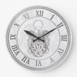 Silver Gray Metallic Christmas Angel of Peace Wall Clock